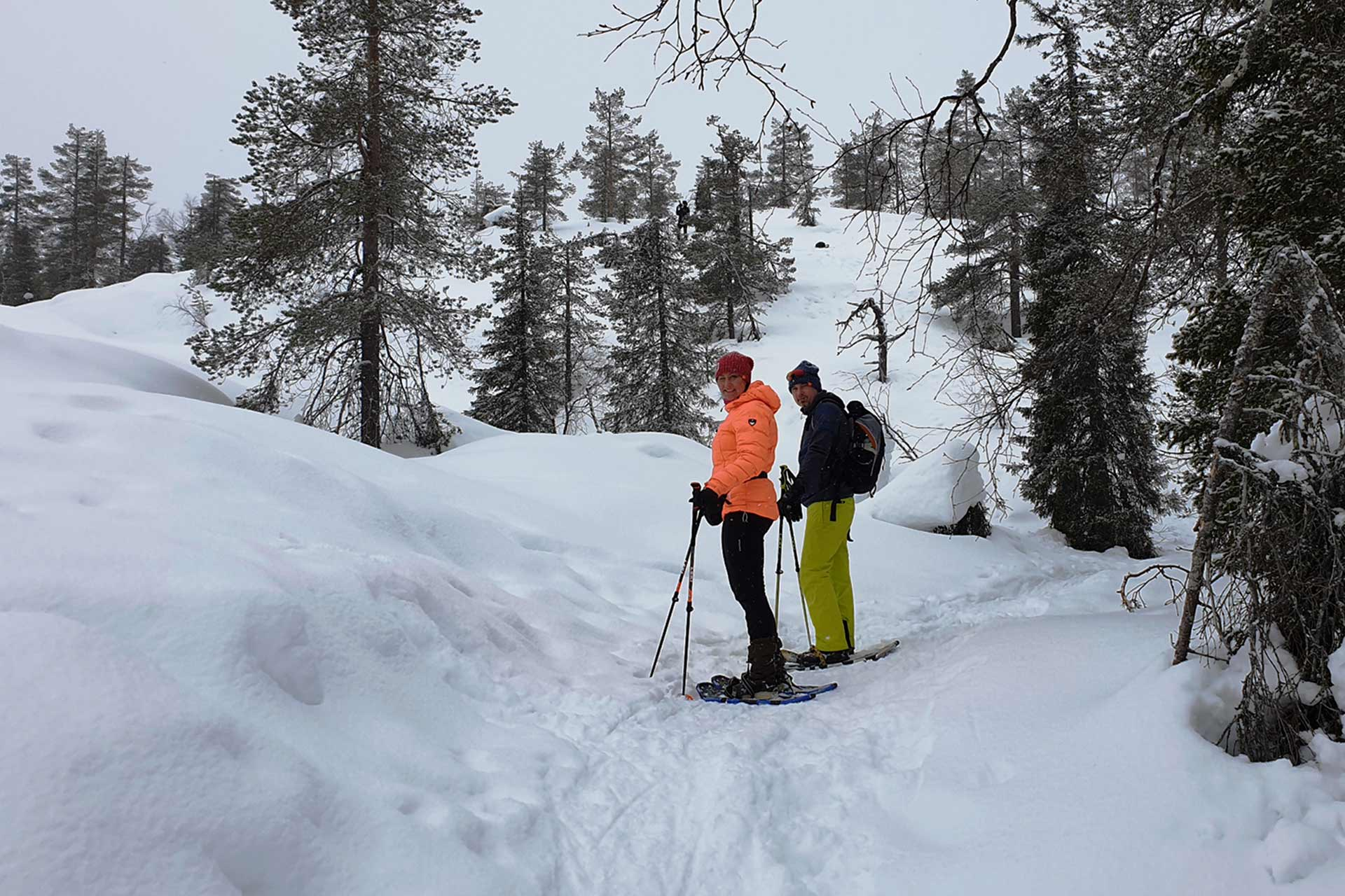 Lumikenkäily Levitunturin ympäristössä talvella.