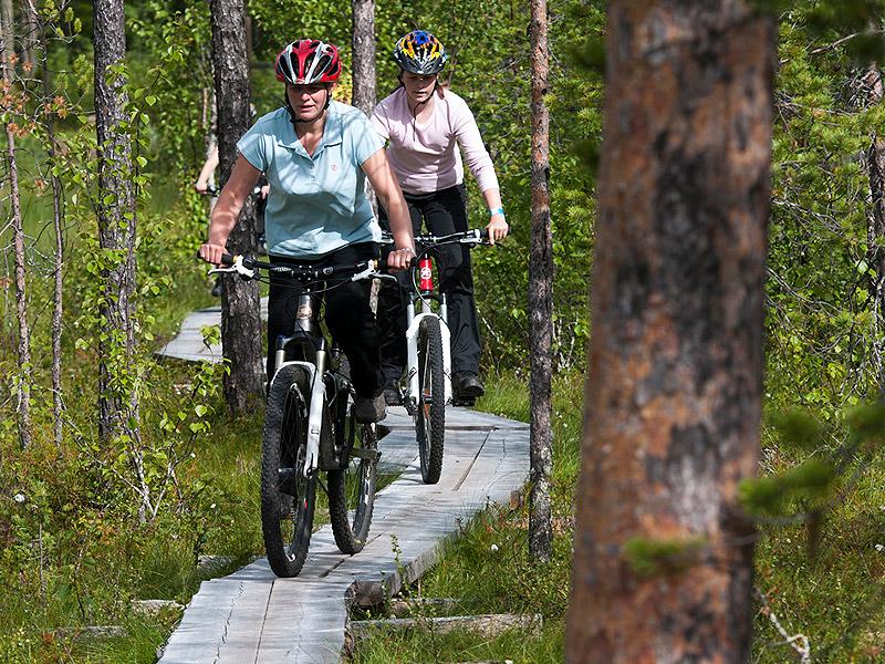 Maastopyöräilijät Levillä